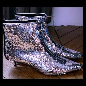 Limited Edition Sequin Kitten Heeled Bootie
